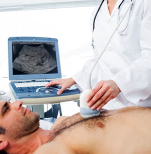 Confident female doctor using ultrasound scan on male patient in examination room